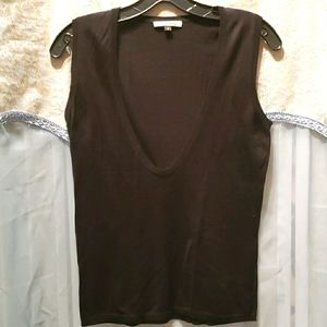 ALVIN VALLEY BLK SLEEVELESS V-NECK SWEATER SZ S